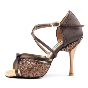 PortDance - Ladies Dance Shoes PD801 Pro - Brown Satin