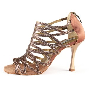 PortDance - Damen Tanzschuhe PD803 Pro - Satin Dark Tan