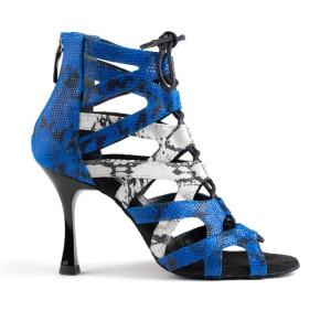 PortDance - Damen Tanzschuhe PD804 Pro - Leder Blau / Weiß