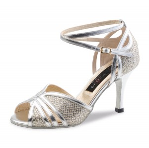 Nueva Epoca - Ladies Dance Shoes Pearl - Leather/Brocade Silver