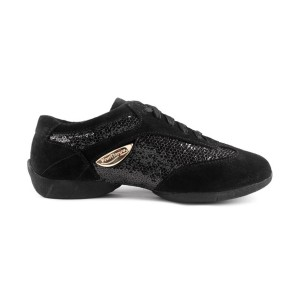PortDance - Mujeres Dance Sneakers PD01 Fashion - Ante/Charol Negro