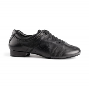 PortDance - Hombres Zapatos de Baile PD Casual - Cuero Negro