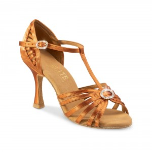 Rummos Ladies Latin Dance Shoes Elite Karina 048 with Rhinestones-Buckle