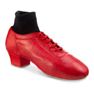 Rummos Hombres Latino Zapatos de Baile Premier 005 - Cuero Rojo - 4,5 cm