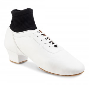 Rummos Hombres Latino Zapatos de Baile Premier 004 - Cuero Blanco - 4,5 cm