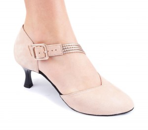 PortDance - Ladies Dance Shoes PD126 - Nubuck Pink - 5,5 cm Flare (big)