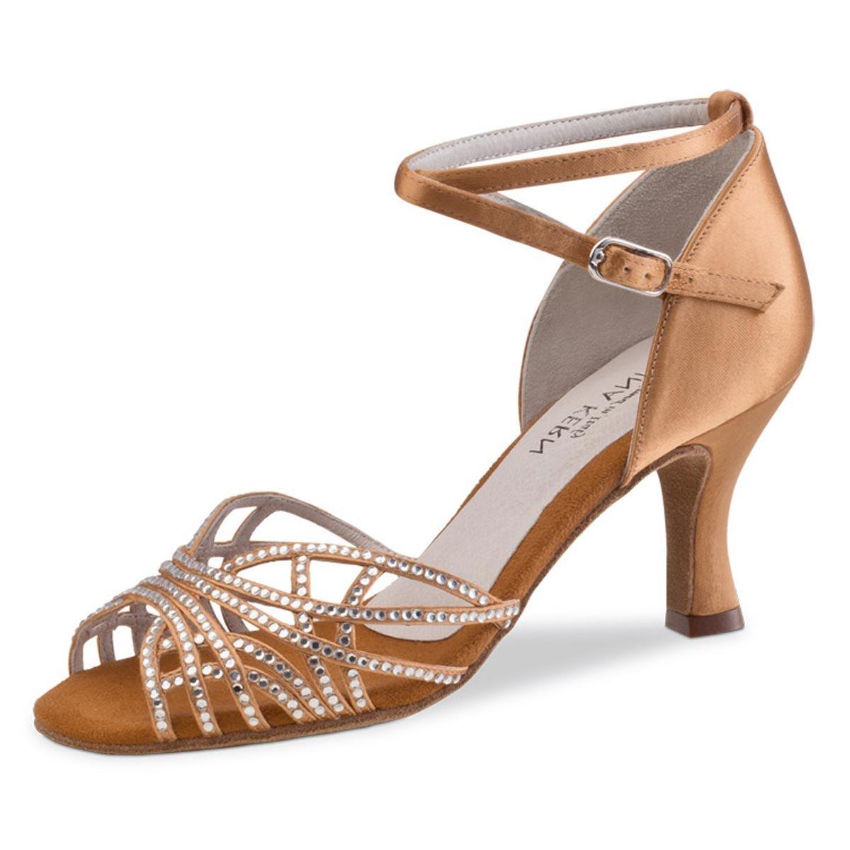 Normalweite Satin Bronze 6 cm Flare Absatz Anna Kern Damen Tanzschuhe 700-60